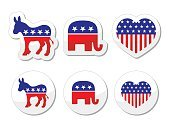 USA political parties symbols: democrats and republicans