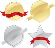 Gold or Silver Seals, Medals, Shields, Ribbons Design Elements S
