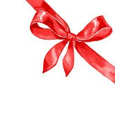 Watercolor satin red bow