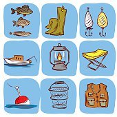 Fishing. Hand drawn vector icon set.