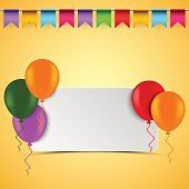 Birthday card with white sign balloons and flags