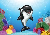 Cute orca with beautiful underwater world