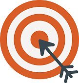 Successful shoot goal icon darts target aim on white background