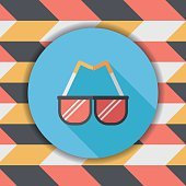 Sunglasses flat icon with long shadow,eps10