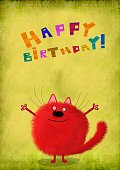 Birthday Card Kitten With Open Arms