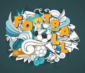 Outline vector banner with ball, orange letters and football objects