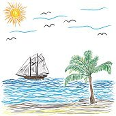 Beach with Palm Tree and ship, vector illustration