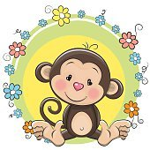 Greeting card cute Monkey