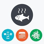 Fish hot sign icon. Cook or fry fish symbol.