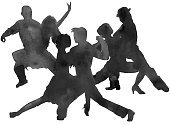 silhouette of a man and a woman dancing tango. isolated.
