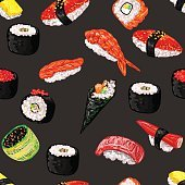 Seamless pattern with different types of sushi