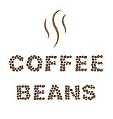 Coffee beans Type on white area background