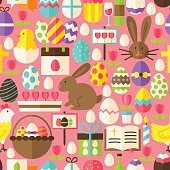 Happy Easter Vector Flat Design Pink Seamless Pattern
