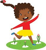 Afro girl running vector illustration