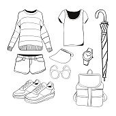 Vector of hand drawn fashion clothes and accessories