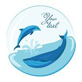 Jumping dolphin and swimming whale on marine roundish vector background