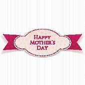 Happy Mothers Day realistic paper Label