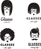 Eyeglasses logo vintage vector set. Hipster and retro style.