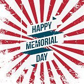 Happy Memorial Day vector Ribbon and Text
