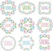 Set of spring labels with flowers and leaves
