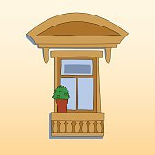 Retro style window exterior with a plant, vector