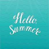 Hello summer quote on a wave background