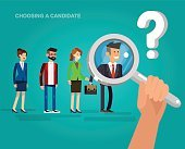 Hiring process concept with candidate selection