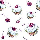 Watercolor cupcake pattern on