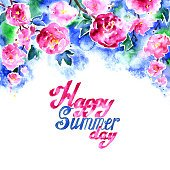 Watercolor summer flower and lettering