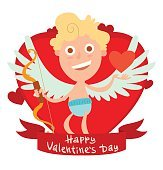 Red frame with cute little cupid and heart symbol