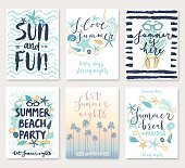 Summer hand drawn calligraphyc card set.