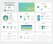 Vector set of presentation template and icons for modern busines