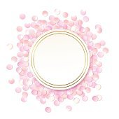 Pink realistic round confetti frame, design template for gift.