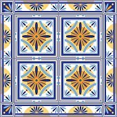 Vector moroccan tiles set with border, vintage style