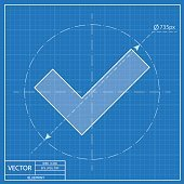 blueprint icon of check mark