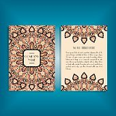 Flyer with round mandala pattern and ornament. Oriental flyer mo
