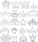 Set of Crowns and Tiaras Line Art