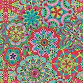 Floral background made of many mandalas. Seamless pattern