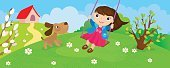 Girl Riding On Swing In Spring