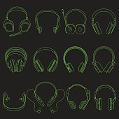 Headphone linear neon Silhouettes Set