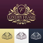 Luxury label or King place symbol element with decorative calligraphy