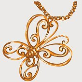 Golden butterfly pendant on a chain