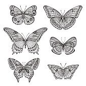 Set of six ornate doodle hand drawn butterflies