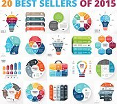 Best vector circle infographics set. Business diagrams, arrows graphs, startup