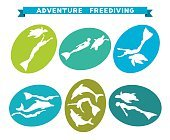 Adventure freediving. Collection of free divers and animal icons