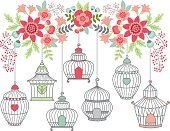 Vector Bird Cages with Summer Flowers