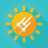 Long shadow sun icon with missiles