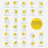 Trendy thin line academic disciplines isolated icon set