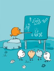 Bird Brains Flying Lesson - Class Room Cartoon