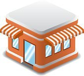 Vector illustration of orange building, Vector Detailed Shop